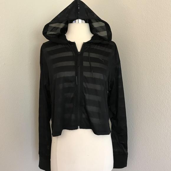6b9992d4cb6b Puma Black Burnout Stripe Cropped Hoodie S NWT
